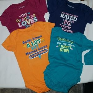 Faded Glory ~ 4 onesie BUNDLE 3-6 months
